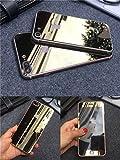 iphone6 iPhone7 5.5/4.7インチ 衝撃保護ガラスフィルム バンパー 液晶保護フィルム 鏡面ミラーキラキラ光るバックプレート前後鏡面ガラスフィルム 前後 バンパーもセット フィルム0.20mm 表面硬度9H iPhone6/6PLUS対応 (iPhone7P, ゴールド)