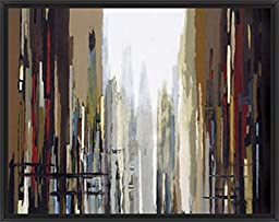 30in x 24in Urban Abstract No. 159 by Gregory Lang - Black Floater Framed Canvas w/ BRUSHSTROKES