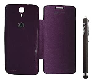 YGS Flip Case Cover For Micromax Canvas Juice A77 -Purple and Griffin Stylus Pen