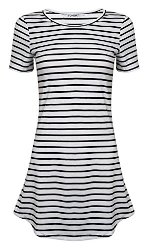 FUNOC® Women Summer Beach Dress Party Short Sleeve Stripe Blouse Mini Sundress (Women Summer Clothes compare prices)