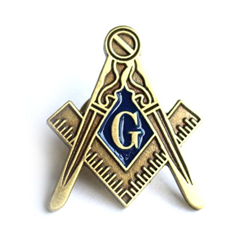 """Masonic Antique Blue Lodge large square and compass lapel pin 1"""" from Masonicbuy"""