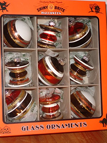 Shiny Brite Vintage Style Halloween Glass Ornaments Balls & Lantern Set of 9