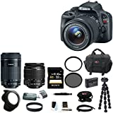 Canon EOS Rebel SL1 with EF-S 18-55mm IS STM Kit and Canon EF-S 55-250mm f/4-5.6 IS STM Lens + Tiffen filters + Focus SLR Bag + tripod + 32GB Deluxe Accessory Kit