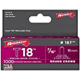 Arrow 187 Genuine T18 7/16-Inch Staples, 1,000-Pack