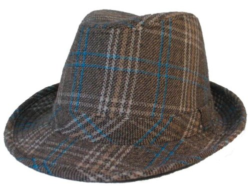 Buy PLAID FEDORA WOOL TRILBY HAT TEAL TAN IVORY
