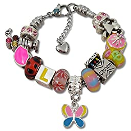 Timeline Treasures Charm Bracelet with Charms, Stainless Steel Snake Chain For Girls, Fits Pandora Jewelry, 6.5 Inch Pink