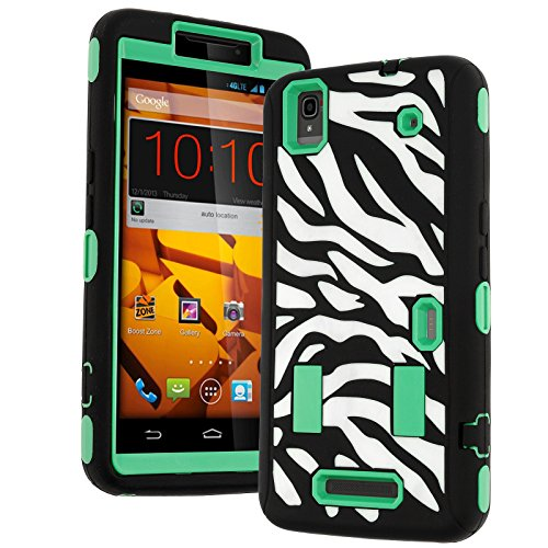 N9520 Case,ZTE Max Case,Heavy Duty Hybrid Shockproof Hard Soft Full-body Case Back Cover for Zte Max N9520 Boost (Zebra Printed Green) (Boost Max Phone Protective Cases compare prices)