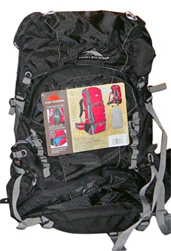 High Sierra Backpack With Internal Frame Ideal For Hiking And Camping (Tangent 45L, Mesh Airflow Adjustable Top Lid Camping Bag, Black) front-947045