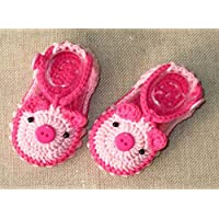 Pale Pink Wool Hand-knit Baby Shoes Baby Toddler Soft Shoes Double Sole One Hundred Days Baby Shoes 10cm