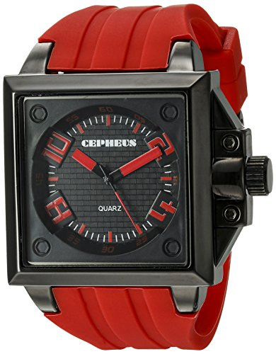 Cepheus Men's Quartz Watch with Black Dial Analogue Display and Red Silicone Strap CP904-624
