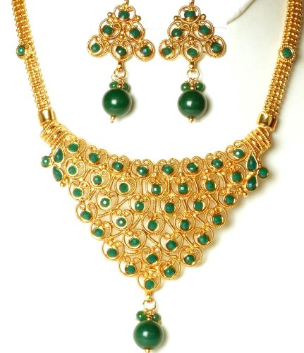 Polki Filigree Lattice Set with Imitation Emeralds - Copper Alloy with Cut Glass