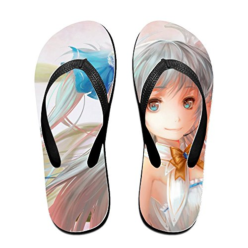 Digentiphe Anime Girl Dress Pink Flip Flops Black