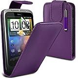 (Lila) HTC Wildfire G8 Schutzhülle aus Kunstleder Flip Case Cover , Aus- und einfahrbarem Capacative Touchscreen Stylus Pen & 3 Screen Protector Guard von Aventus * *
