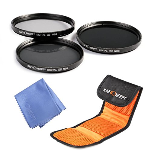 K&F Concept 52mm Neutral Density Filter Set ND2 ND4 ND8 Kit for Nikon D7100 D7000 D5200 D5100 D5000 D3300 D3200 D3100 D3000 DSLR Cameras 18-55MM Lens+ Microfiber Lens Cleaning Cloth + 3 Slot Filter Pouch