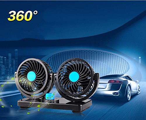 abovetek 12v dc electric car fan rotatable 2 speed dual blade with 9ft cord quiet strong. Black Bedroom Furniture Sets. Home Design Ideas