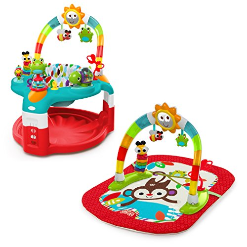 Why Choose Bright Starts 2-in-1 Silly Sunburst Activity Gym and Saucer, Red