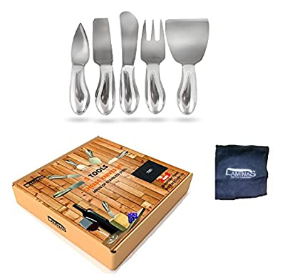 Cheese Knives Set 5-Piece Stainless Steel tools with Microfiber Cleaning Cloth in a Housewarming Gift Box, Exquisitely Designed to Hold, Cut, Shave, Slice, Spread, Serve All Types Of Cheeses