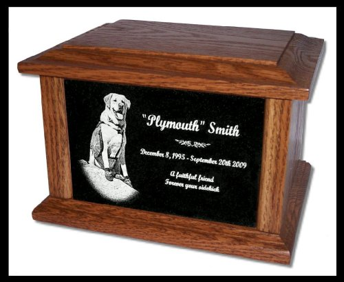 Pet Cremation Urn Memorial Custom Marker Dog -- for Pets up to 130 Lbs.