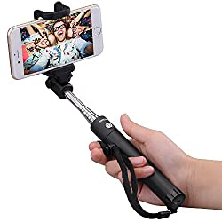 [New Generation] Mpow iSnap X One-piece U-Shape Self-portrait Monopod Extendable Selfie Stick with built-in Bluetooth Remote Shutter-Black