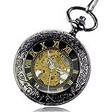 Tirio Steampunk Pocket Watch Pendant Roman Number Half Hunter Antiqued Silver Black with New Design Gift Box