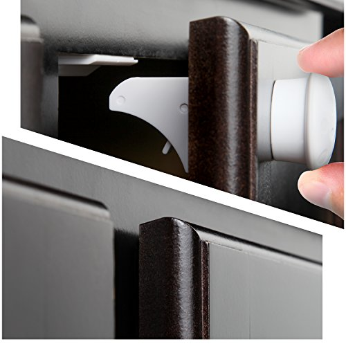 Safety Baby Magnetic Cabinet Locks - No Tools Or Screws Needed, 4 Locks + 1 Key