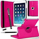 GBOS® New iPad Mini - Pink 360 Degree Rotating Smart Leather Wallet Flip Stand Case Cover With Full Sleep Wake Comatibility+ Stlus Pen + Screen Protector + Polising Cloth (Pink)