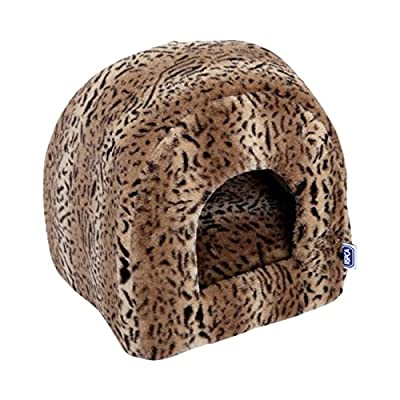 RSPCA Luxury Leopard Print Plush Igloo Cat Bed, Brown
