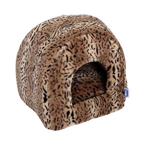rspca-luxury-leopard-print-plush-igloo-cat-bed-brown