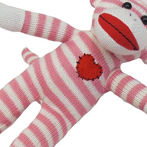 """Sock Monkey Valentines Day Sock Monkey Plush Toy, 12"""", Pink and White"""