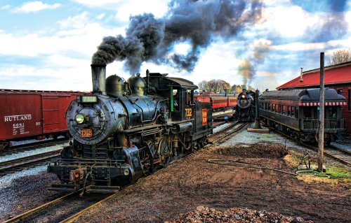 At the Trainyard a 1000-Piece Jigsaw Puzzle by Sunsout Inc.