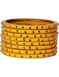 Dulari Stone Embellished Yellow Lac Round Simple Bangles For Women (Set Of 8 Bangles)