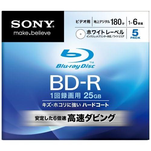 SONY ブルーレイディスク ビデオ用BD-R 追記型 片面1層25GB 6倍速 プリンタブル 5枚P 5BNR1VCPS6
