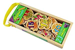 QISIWEI 23 Piece Wooden Magnetic Cutout Stickers in Wooden Carry Case for Kids Ages 3+ Years