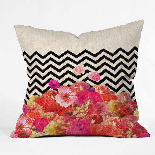 Bianca Green Chevron Flora 2 Throw Pillow back-955322