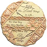 Inspirational Wall Art Sign Plaque Engraved with Enjoy the Little Things in Life - Indoor Outdoor Garden Stepping Stone - Rustic Hand Carved Filigree Hearts and Flowers - Round - 8 Inch