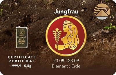Goldbarren 0,5 g 0,5g Gramm Feingold 999.9 Nadir Gold LBMA Sternzeichen Jungfrau