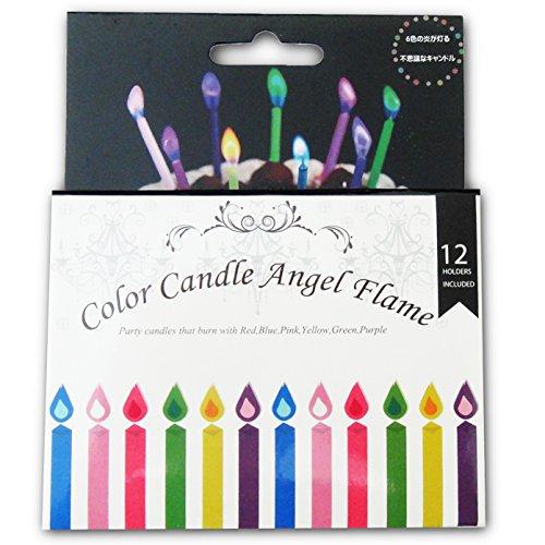 (ドットジャパン) 色付きの炎が灯る カラーキャンドル 今まで難しいとされてきたピンクの発色をきれいに表現できました 【エンジェルフレーム】 (6色×2本) 12本入
