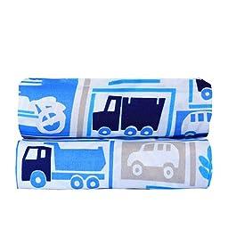bkb Set of 2 Bassinet Sheets, Cars N\' Trucks, 15\
