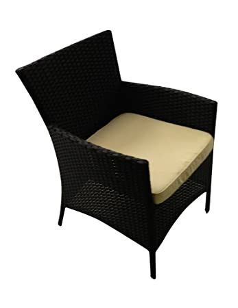 Poltrona in polyrattan nero e cuscino ecrù