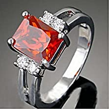 buy Jacob Alex Ring Claw Rings Size 9 Red Zircon Rectangle Women'S 10Kt White Gold Filled Wedding