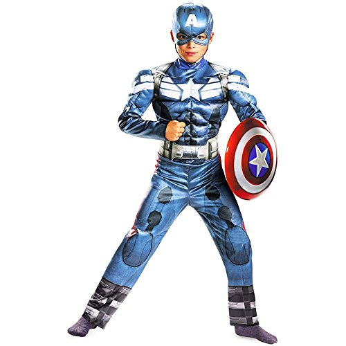 Disguise Marvel Captain America The Winter Soldier Movie 2 Captain America Classic Muscle Boys Costume, Medium (7-8) front-1074260