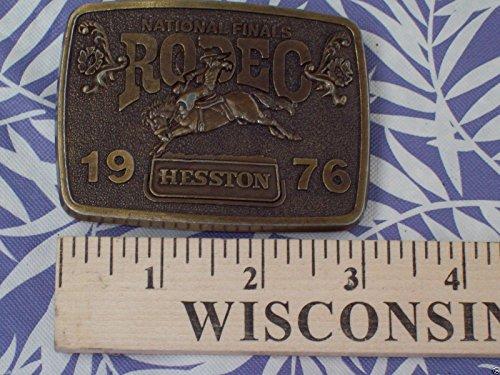 Vintage 1976 Hesston Belt Buckle -- National Finals Rodeo -- NFR -- Cowboy Adult Buckle -- Saddle Bronc -- Near-Mint
