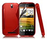 RED WAVE GEL CASE COVER FOR HTC ONE SV + SCREEN PROTECTOR BY SMARTPHONEZ ACCESSORIES