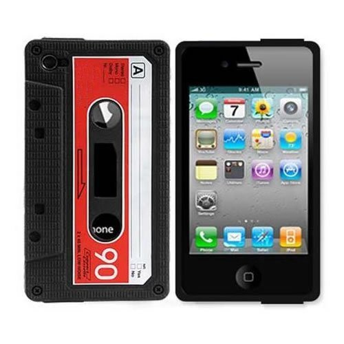 Silicone Black/Red Cassette Tape Case Skin Cover for VERIZON / AT&T Apple iPhone 4S / 4 / 4G