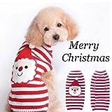 (ヤンググロリ)YOGLY 可愛い満点!クリスマスストライプイペット服 犬猫専用ニットtシャツ ドッグウェア パーカー パパラッジ衫 綿製 夏秋用 暖かい 防寒  コート Tシャツ ペット用品 わんちゃん ウェア 犬の服 小型犬 中型犬