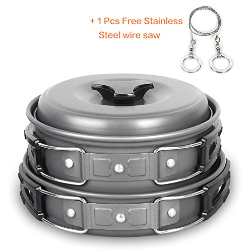 Unigear Outdoor Camping Cookware, 10-in-1 Kits Portable Hiking Travel Backpacking Non-stick Cooking Ware Picnic Bowl Pot Pan Set Includes Bonus Stainless Steel Wire Saw