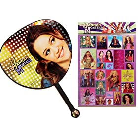 Black Hannah Montana Hand Fan! Bonus Hannah Montana Sticker Sheet