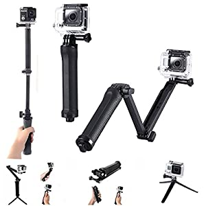 Handle 3-way Selfie Handheld Stick Monopod Foldable Mount Holder Stand Support for Gopro Hero Cameras & SJ4000