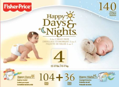 Fisher Price Happy Day and Night Baby Diapers Size 4, 140 Count