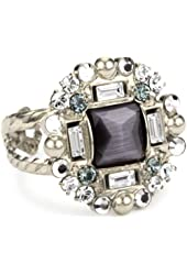 "Sorrelli ""Pewter"" Crystal and Opaque Silver-Tone Adjustable Ring"